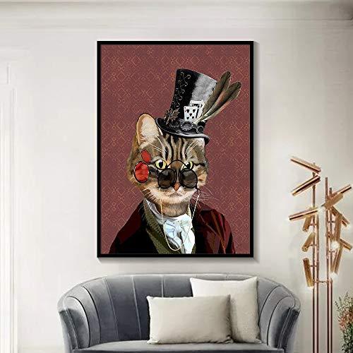 ganlanshu Rahmenlose Malerei Elegante Tierwandkunstplakat- und Tiermuster-Leinwandmalerei WohnzimmerhauptdekorationZGQ3005 40X50cm