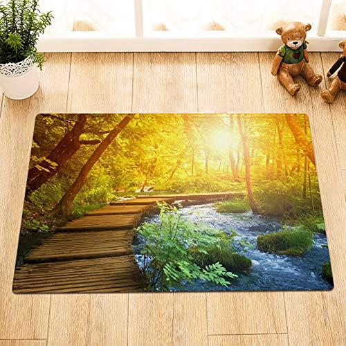 NNAYD1996 Bos rivier houten brug herfst zon 3D printen, badkamer accessoires, voordeur, achterdeur, keuken, woonkamer, toilet