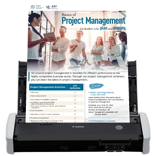 Canon imageFORMULA R10 Portable Document Scanner, 2-Sided Scanning with 20 Page Feeder, Easy Setup For Home or Office, Includes Software, (4861C001)
