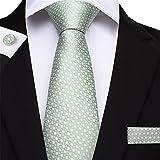 Aiglen Conjuntos de Gemelos de pañuelo de Corbata de poliéster Verde para Hombres, Conjunto de Gemelos de pañuelo de Jacquard de Boda para Hombres (Color : Green)