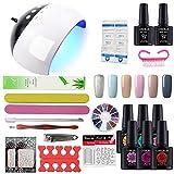 Coscelia - Kit de Nail Art, esmaltes semipermanentes, gel de uñas, esmaltes de acabado y lámpara secadora LED UV de 24 W