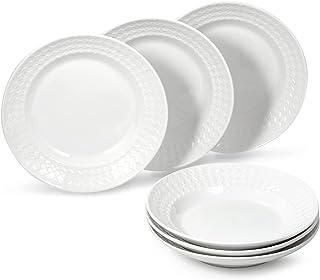 suntun Assiettes Creuses Porcelaine 6 pièces, Blanche New Bone China Assiettes à Soupe Pâte, Moderne Service de Table Vais...