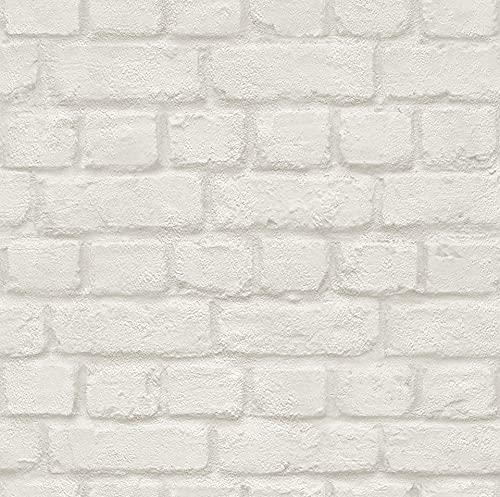 Rasch Tapeten 226706 Creme mit Steinoptik-10,05m x 0,53m (L x B) PapierTapete Rasch Kollektion Steine & Hölzer