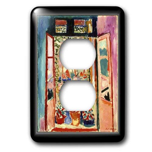 Einzelne Duplex-Steckdosenplatte, Steckdosen-Wandplatte, Matisse, Malerei, das offene Fenster, 2 Steckdosen Abdeckung
