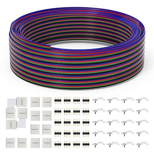 Chesbung LED Verlängerungskabel, 15M/49.2ft RGB Verlängerungskabel 4 Polig LED Band Verbindungskabel LED Strip Extension Kabel, inkl.L-förmige Stecker,Lückenlose Stecker, 4-Poliger Stecker