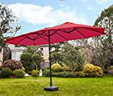 Romayard Double-Sided Outdoor Umbrella 15x9 ft Aluminum Large Umbrella with Crank for Garden, Patio, Market,Camping,Swimming Pool (Red)