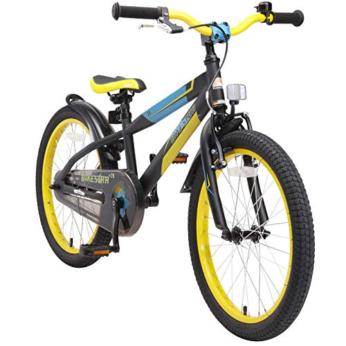 BIKESTAR Premium Safety Sport Kids Bike Bicycle for Kids age 6 year old children | 20 Inch Mountain Bike Edition for boys and girls | Black & Green