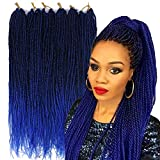 Palace hair 6Pack/LOT Senegalese Twist Crochet Hair Braids Small Easy Twist Crochet Braiding Hair 2S Senegalese Twists 14 inch 18inch 24inch 30strands/pack Hairstyles For Black Women color (24inchs, T1B/blue)