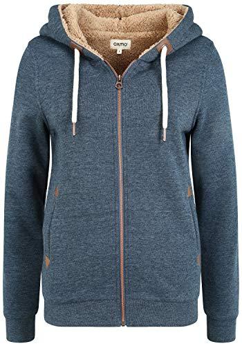 OXMO Vicky Pile Zip Damen Sweatjacke Cardigan Sweatshirtjacke Mit Teddy-Futter, Größe:XS, Farbe:INS BL Mel (7989915)
