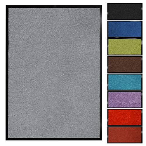 Floordirekt Schmutzfangmatte Monochrom | Fussmatte in 10 Größen & 8 Farben | Türmatte für innen & außen (90 x 120 cm, Silbergrau)