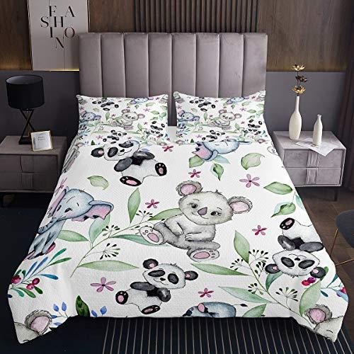 Kinder Tagesdecke 170x210cm Panda Koala Elefant Steppdecke für Kinder Jungen Mädchen Nettes Tiermuster Bettüberwurf Naturthema Wohndecke 2St