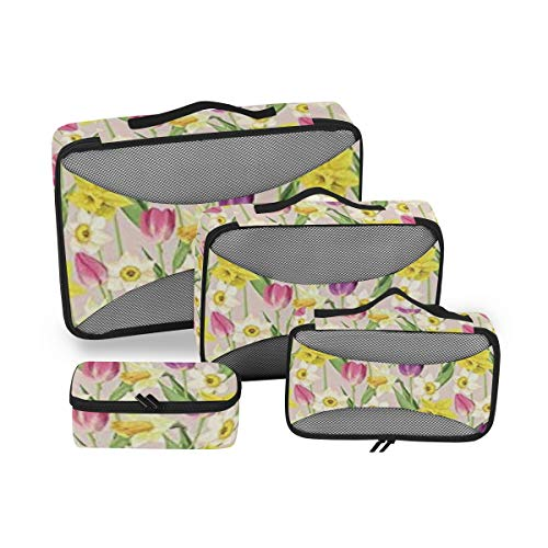 Daffodil Decor 4pcs Toiletry Bag Travel Cosmetic Organizer,Hanging Toiletry Kit for Women and Men
