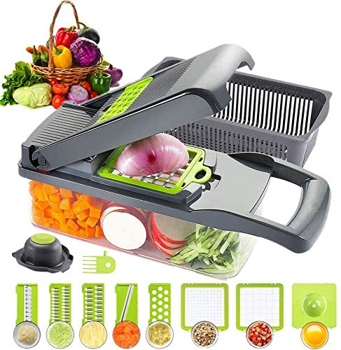 HOUPDA Cortador de Vegetais Fatiador de Mandolina 11 em 1 cortador de cebola com 8 lâminas, cortador manual de alimentos, ralador de vegetais, usado como cebola, salada de frutas, cubos de batata e fatia de cenoura