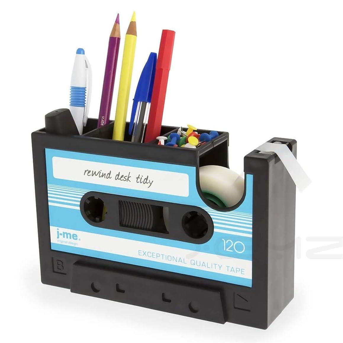 Creative Adhesive Tape Pen Holder Case, Retro Cassette Tape Dispenser Vase Brush Pot, Popular Pencil Desk Collection Tidy Organizer, Office Stationery Storage Container- Unique Gift (Blue)