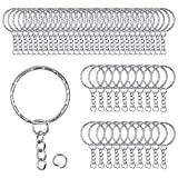 50-teilige Metall-Schlüsselringe mit Ketten und kleinen runden, geteilten Ringen zum Organisieren...