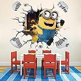 Adhesivo decorativo para pared, diseño de Minions de mi villano favorito en 3D, para...