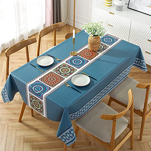 Aitsite Mantel Rectangular de PVC y Tela Oxford para Manteles de JardíN de Cocina y Sala de Estar, Multiusos, Impermeable y Lavable, (140 X 220 Cm, Azul)