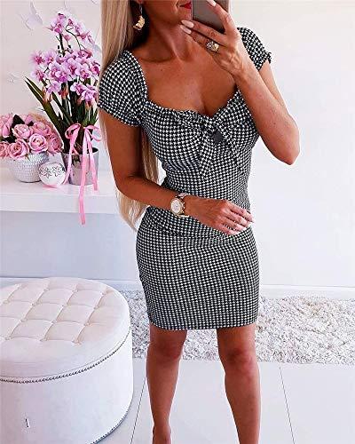 XUBB ZioBSQ Damen Blumen Minikleid Ärmellose Punkte Elegante Damen Party Boho Strandkleider Sommer Sommerkleid Mode LD