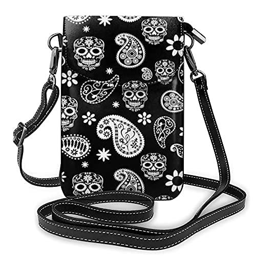 Bolso de cuero ligero de la PU pequeño bolso de Crossbody mini bolsa del teléfono celular bolsa de hombro con correa ajustable Paisley cráneos de azúcar
