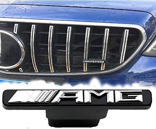 AMYD Auto Frontgrill AMG Embleme, Frontgrill Grill Mini Logo Abzeichen Für Mercedes-Benz A B C E-Klasse W176 W246 W204 W205 W212 W213 GLC X253 GLE W292,White