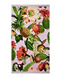 ESSENZA - Toalla de playa (algodón orgánico, 100 x 180 cm), diseño de flores y frutas
