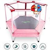 DXIUMZHP Trampoline Hexagon Stummer Garden Rebounder Kindertrampolin Mit Sicherheitsnetz Outdoor-Fitnessgeräte Indoor Kleine Haushaltsspielzeug Familienaktivitäten (Color : Pink-B, Size : 3.9FT)