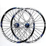 HJRD Montaña Juego De Ruedas, 26/27.5/29 Pulgadas Rueda De Bicicleta Llanta MTB De Aleación Aluminio De Doble Pared Lanzamiento Rápido Freno De Disco 7-11 Velocidad 32H(blue27.5)