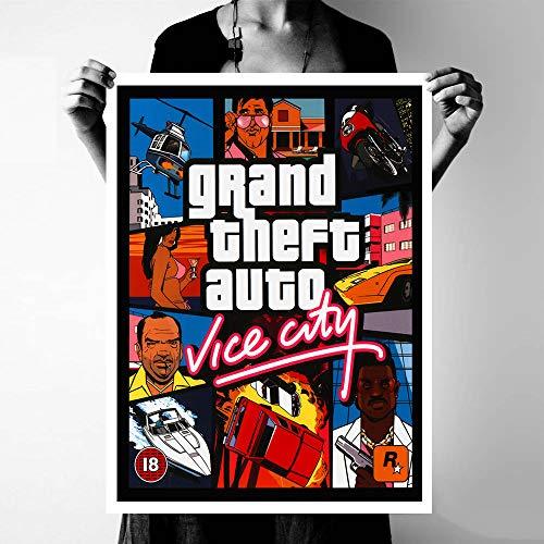 yhyxll GTA Vice City Cita Carteles e Impresiones Arte de la Lona Cuadros Decorativos de Pared para Sala de Estar Decoración del hogar Pintura sin Marco 50x75 cm