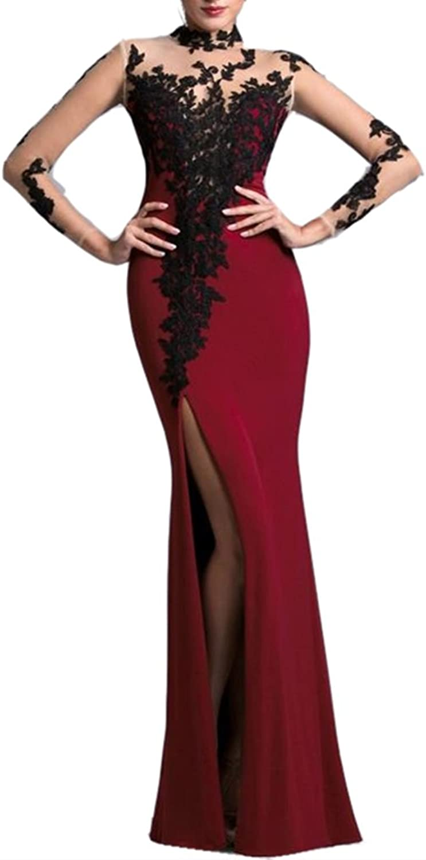 Emmani Women's Mermaid Lace Applique Side Split Transparent sleeve Mother Dresses