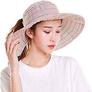 AMAZACER Striped Polyester Cotton Hollow top Wide-Brimmed hat Collapsible Beach Outdoor UV Protection UPF 50+Khaki (Color : Khaki)