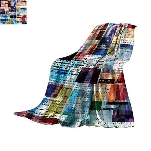 Antiguo periódico decoración pequeñas mantas, diseño abstracto de estilo acuarela con textos punteados Grunge Old Fashioned Super Soft Minisize mantas de forro polar para sofá, 127 x 76 cm, multicolor