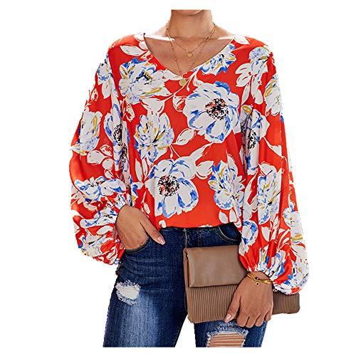 NOBRAND Frühling und Sommer Shirts Blusen mit bedruckten Ärmeln Gr. Small, Orange