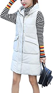 Womens Padded Gilet with Hood Quilted Gilet Hooded Long Body Warmer