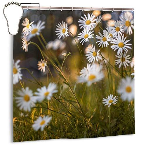 Cortina de ducha eficiente de secado rápido para baño, cortina de ducha decorativa de 182 x 182 cm, juego de cortina con 12 ganchos, decoración para cuarto de baño, flores y plantas de prado