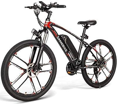 Autoshoppingcenter Elektrofahrrad MTB 26 Zoll E-Bike mit 48V 8Ah Lithium-Akku, Hochfestem Stoßdämpfung und 21 Gang Shimano Gangschaltung, Mountainbike 350W Motor 30km/h, Doppelscheibenbremse (Schwarz)