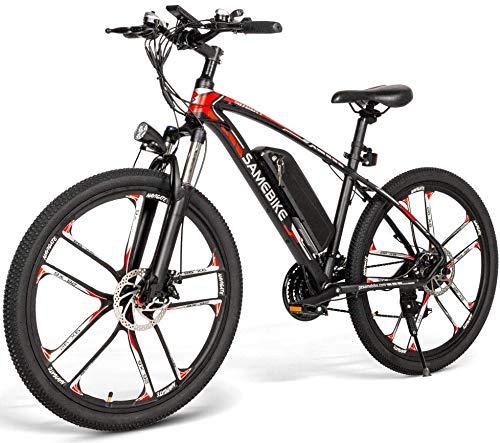Bicicleta Eléctrica de Montaña Ciclomotor 26 Pulgadas con Motor de 350W Autonmia de 80KM Bateria de Litio 48V 8AH Marco de Aluminio Frenos de Disco 3 Modos de Arranque [EU Stock]