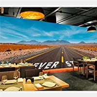 xueshao 壁紙カスタムレストランカフェ壁紙壁画道路風景壁装飾絵画-280X200Cm