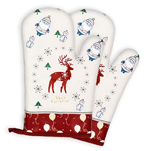 YMAM.LIGHT Christmas Design Funny Oven Mitts, Heat Resistant 500 Degrees Non-Slip, 100% Cotton Lining, Gloves for Pot Holders Cooking, BBQ, Baking Premium Durable Cute Mitts-1 Pair