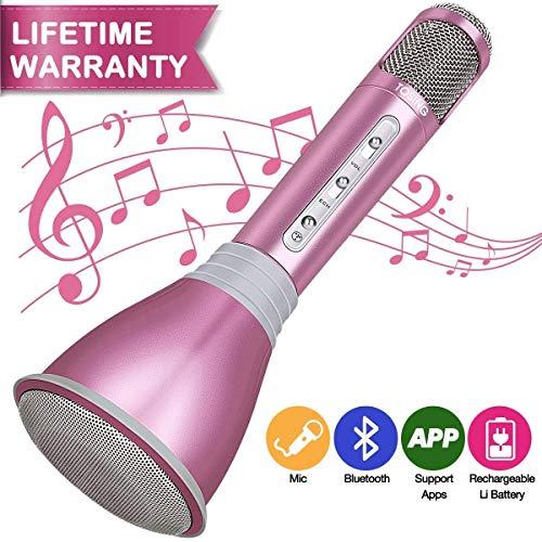 Microfono Wireless Karaoke HooYL Bluetooth Microfono 1800mAh Karaoke Bambini 3.5mm AUX con Wireless Bluetooth Altoparlante per il Playing della Musica e Cantare Compatibile con Android IOS Nuovo-Rosa