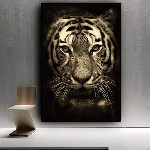 wZUN Tigre Blanco y Negro Animales Salvajes Lienzo Arte Pintura Carteles e Impresiones Mural de Sala de Estar escandinavo 60x90cm