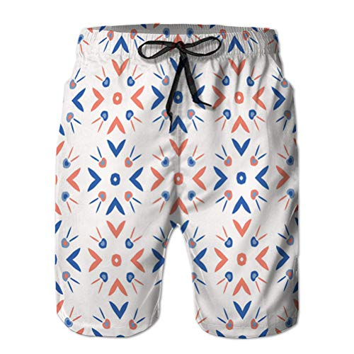 Mens Beach Board Shorts Fashion Surf Shorts Swimsuit 1950s Style Retro Love Hear