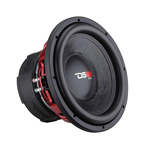 "DS18 EXL-X12.4D Subwoofer in Black - 12"" Speaker, 2,500 Max Power, 1,250 RMS Power, Fiber Glass Dust Cap, Red Aluminum Frame, Dual Voice Coil 4+4 Ohm Impedance, Treated Rubber Edge (1 Speaker)"