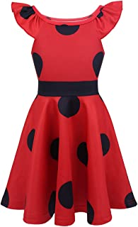 dPois Kids Girls' 3PCS Ladybird Fancy Costumes Full Length Jumpsuit with Eye Mask Bag Cosplay Party Dress Up Outfit