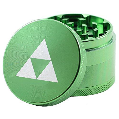 """Laser Engraved Spice & Herb Grinder – 2.2"""" Inch 4 Piece Premium Aluminum Crusher – Lionhead (Green)"""