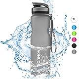BAONUOR Trinkflasche 1L, [BPA Frei ] Tritan Wasserflasche Auslaufsicher Flasche 1000ml für Sport, Fahrrad, Gym, Fitness, Camping, Uni, Yoga,Outdoor, Grau