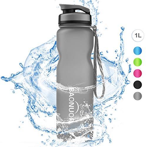 BAONUOR Trinkflasche 1L, [BPA Frei ] Tritan Wasserflasche Auslaufsicher Sportflasche 1000ml für Fahrrad, Gym, Fitness, Camping, Uni, Yoga,Outdoor,Grau