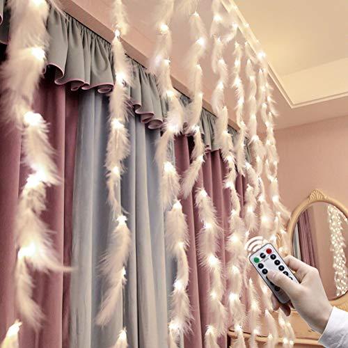 Bogeger Feder Vorhang Lichterkette, 200 Led Lampe Mit Fernbedienung USB Lichterkette Weihnachten Party Home Hochzeit Garten Weihnachtsschmuck, 3 * 2 M, Weiß & Warm Weiß