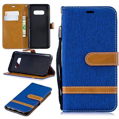 Zakelijke telefoonhoesje voor Galaxy S10e kleur bijpassende Denim Texture lederen tas, met houder & kaartsleuven & portemonnee & lanyard beschermhoes, Royal Blauw