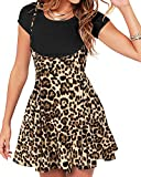YOINS Falda Plisada de Mujer Falda A Cuadros Elástica Faldas de Tirantes Casuales Vestidos Acampanada Moda Versátil Leopardo-Café S