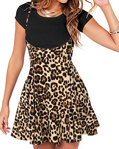 YOINS Rock Damen Mädchen Minirock Kawaii A Linie Mini Skater Rock Kleider für Damen Minikleid Skaterkleid,Leopard-kaffee,S